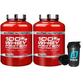 Pack Scitec Nutrition 100% Whey protein Professional 2 botes x 2,35 kg + Bulevip Shaker Pro 500 ml