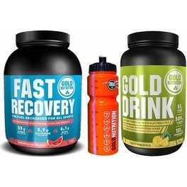 Pack Gold Nutrition Gold Drink 1 kg + Fast Recovery 1 kg + Bidon Naranja 800 ml