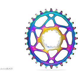 Absolute Black Plato Oval Sram Direct Mount Boost148 - Pvd Rainbow (3mm Offset) - 28t