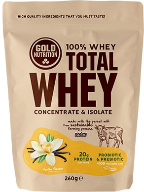 Gold Nutrition Total Whey 260 gr Sabor Chocolate - Avellana