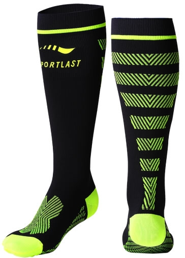 Sportlast Calcetin de Compresion Largo Pro Running Everest Negro-Amarillo