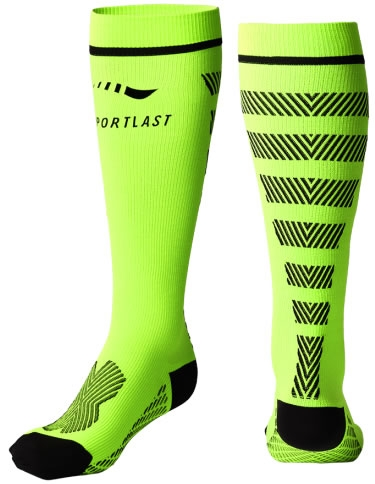 Sportlast Calcetin de Compresion Largo Pro Running Everest Amarillo-Negro