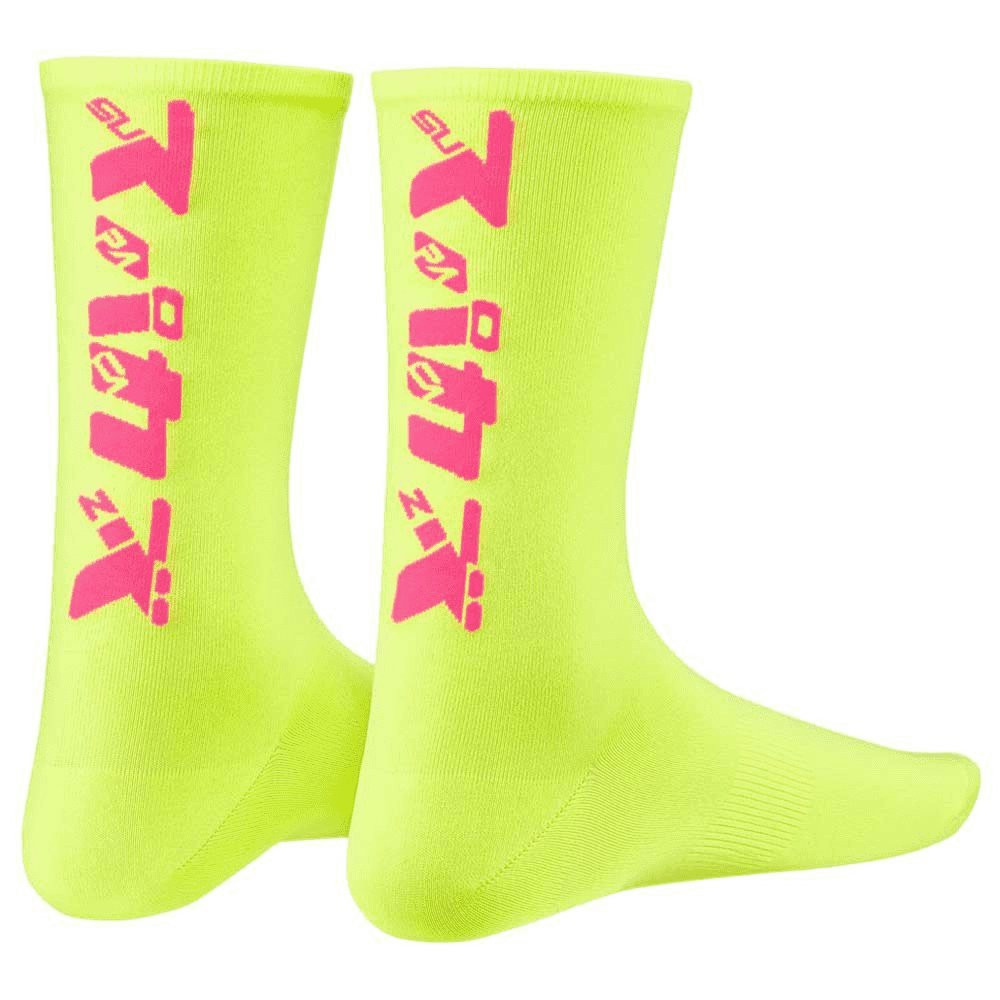 Supacaz Socks Katakana Neon Yellow And Neon Pink