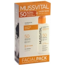 Mussvital Locion Spray 50+ 200 ml + Crema Facial Fluid Emulsion SPF 50+ 50 ml