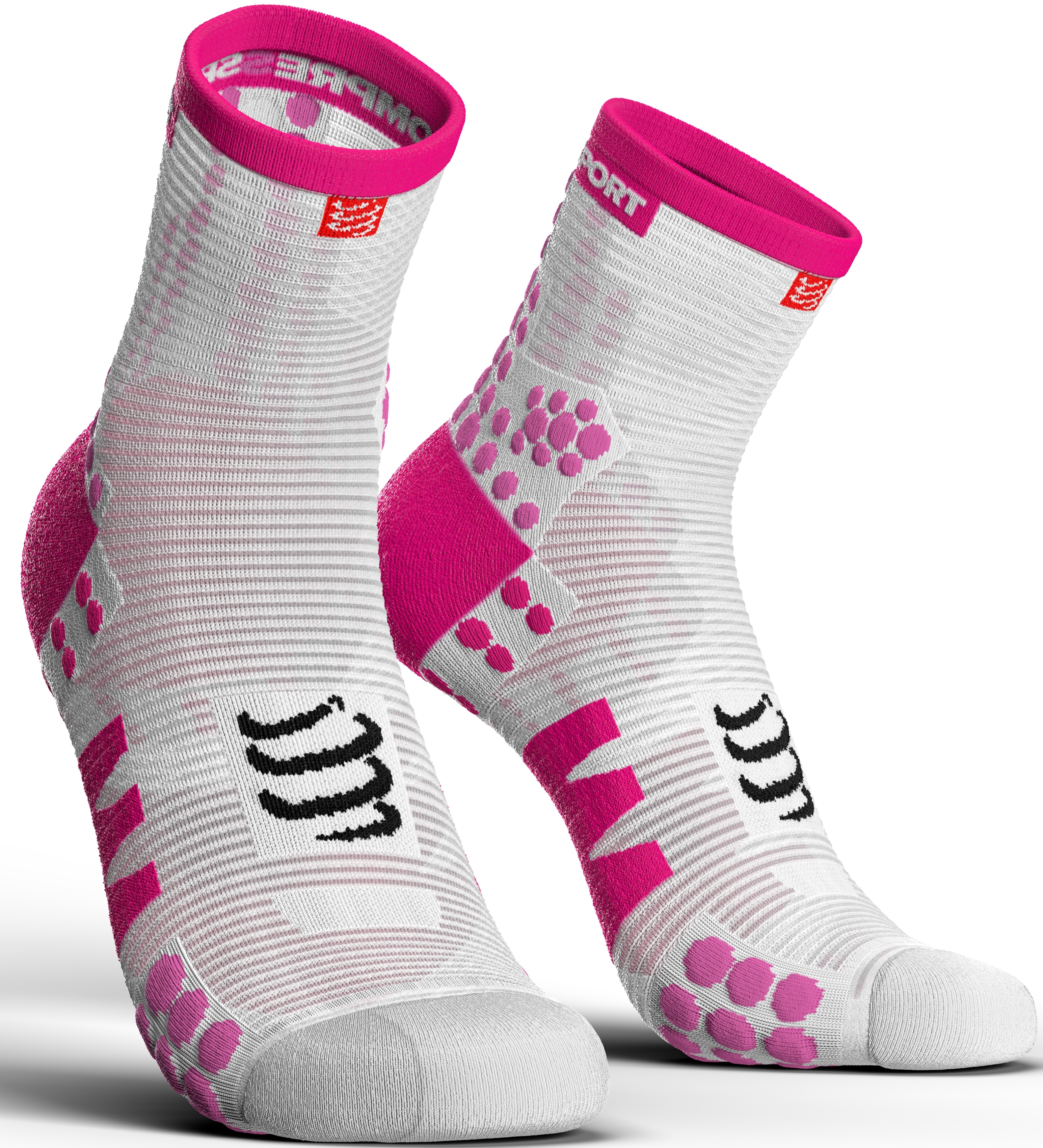 Compressport Calcetines Pro Racing Socks V3.0 Run High Blanco-Rosa