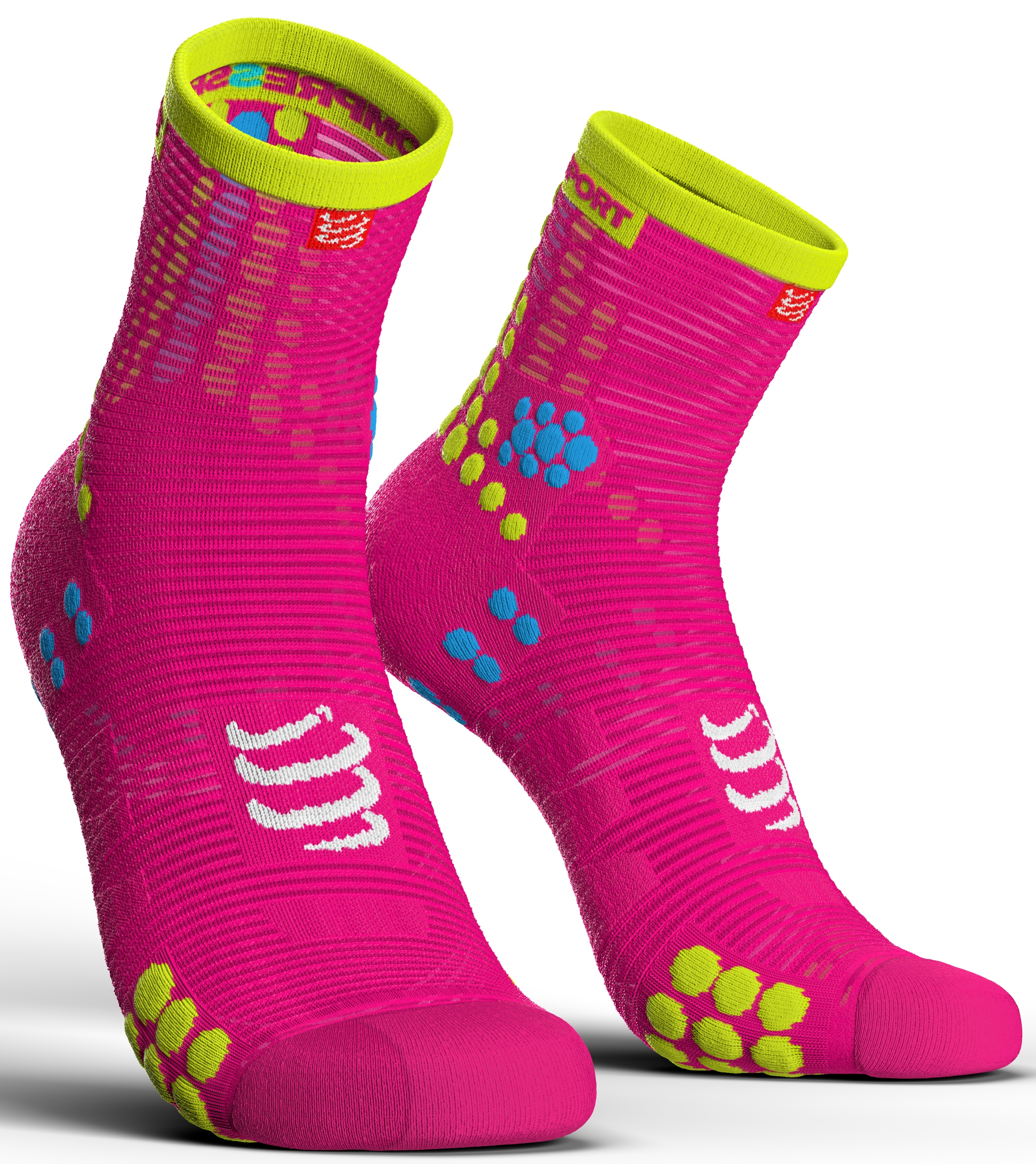 Compressport Calcetines Pro Racing Socks V3.0 Run High Rosa Fluor