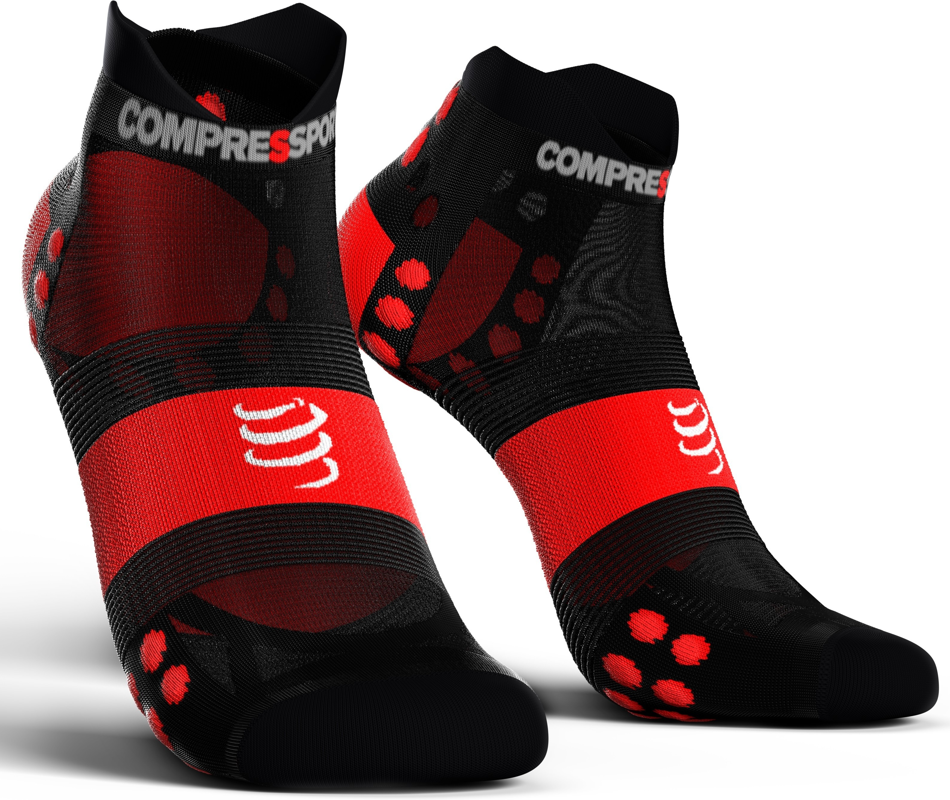 Compressport Calcetines Pro Racing Socks V3.0 Ultra Light Run Low Negro-Rojo