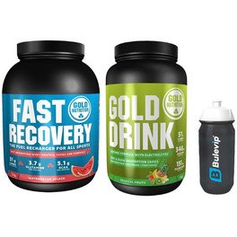 Pack Gold Nutrition Gold Drink 1 kg + Fast Recovery 1 kg + Bidon Negro Transparente 600 ml