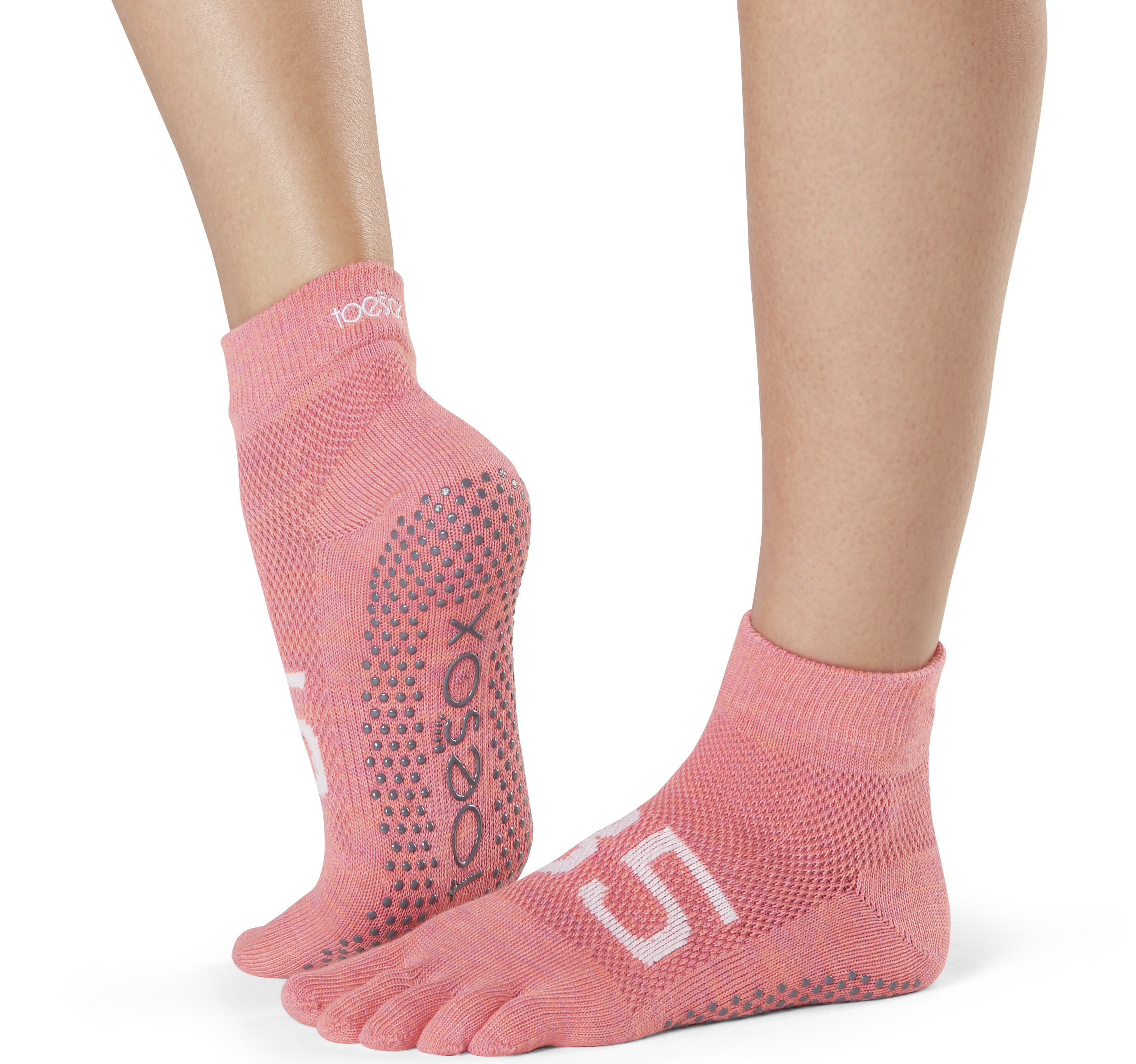 Toesox Calcetines Con Dedos Ankle Rosa