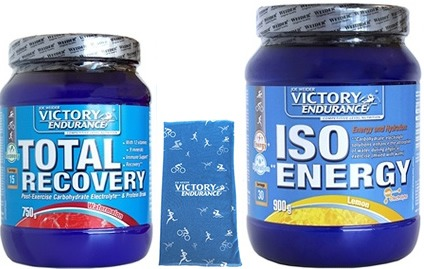 Pack Victory Endurance Total Recovery 750 gr + Iso Energy (Isotonico) 900 gr + Braga de Cuello Azul