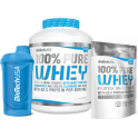 Pack BioTechUSA 100% Pure Whey 2270 gr + 100% Pure Whey 454 gr + Shaker Wave Azul 600 ml
