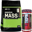 Pack Optimum Nutrition Serious Mass 12 Lbs (5,45 Kg) + Cad.30/06/19 ProSupps Halotropin - Regulador Hormonal 90 caps