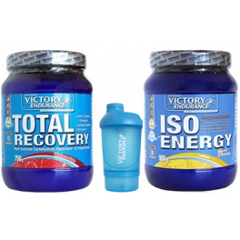 Pack Victory Endurance Total Recovery 750 gr + Iso Energy (Isotonico) 900 gr + Shaker Mezclador Azul - 500 ml