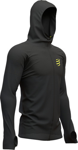 Compressport  3D Thermo Seamless Zip Hoodie Sudadera Black Edition Negro
