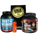 Pack Gold Nutrition Fast Recovery 1 kg + Pre-Workout Endurance 300 gr + Toalla Negra + Bidon 750 ml