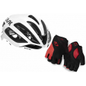 Pack Kask Casco Protone Blanco + Giro Guantes Ciclismo Strate Dure Supergel Negro-Rojo