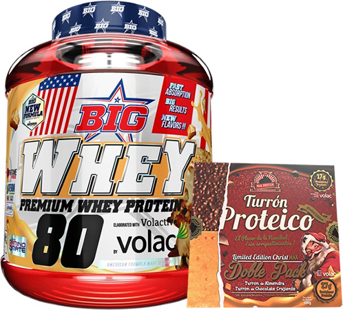 Pack BIG Whey 100% Whey Concentrate 2 kg + Max Protein Turron Proteico Edicion Limitada Christmax Doble Pack 400 gr