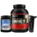 Pack Optimum Nutrition 100% Whey Gold Standard 5 Lbs (2,27 Kg) +  Essential Amino Energy 558 gr + Shaker Mezclador 600 ml