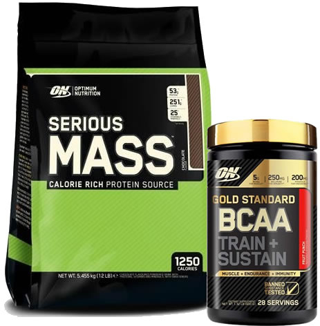 Pack Optimum Nutrition Serious Mass 12 Lbs (5,45 Kg) + Gold Standard BCAA Train + Sustain 266 gr