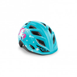 Met Casco Junior Genio Azul Unicornio Brillo Talla Unica (52-57 Cm)