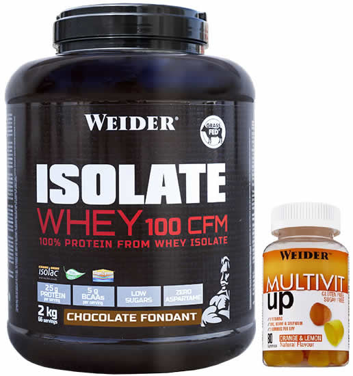 Pack Weider Isolate Whey 100 CFM 2 kg + Multivit UP Gummies - Multivitaminico 80 Gominolas