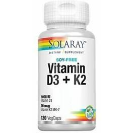 Solaray Vitamina D3 & K2 (Mk7) 120 Caps